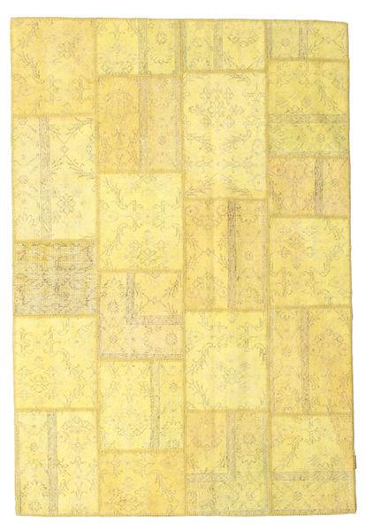 Patchwork Χαλι 158X236 Σύγχρονα Χειροποιητο Κίτρινος/Σκούρο Μπεζ (Μαλλί, Τουρκικά)