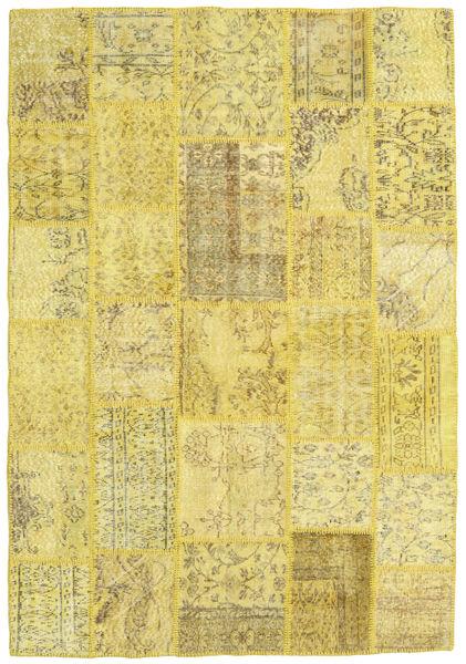 Patchwork Χαλι 160X232 Σύγχρονα Χειροποιητο Κίτρινος/Σκούρο Μπεζ (Μαλλί, Τουρκικά)