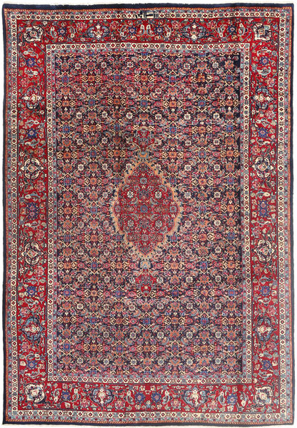 Tabriz Χαλι 196X288 Ανατολής Χειροποιητο Σκούρο Μωβ/Ανοιχτό Γκρι (Μαλλί, Περσικά/Ιρανικά)
