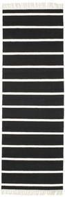 Dorri Stripe - Μαύρα/White Χαλι 80X250 Σύγχρονα Χειροποίητη Ύφανση Χαλι Διαδρομοσ Μαύρα/Λευκό/Κρεμ (Μαλλί, Ινδικά)