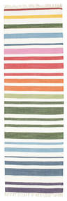 Rainbow Stripe - White Χαλι 80X250 Σύγχρονα Χειροποίητη Ύφανση Χαλι Διαδρομοσ Μπεζ/Λευκό/Κρεμ (Βαμβάκι, Ινδικά)