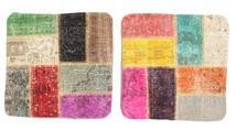 Patchwork Μαξιλαροθήκη Χαλι 50X50 Ανατολής Χειροποιητο Τετράγωνο Ανοιχτό Καφέ/Ανοιχτό Ροζ (Μαλλί, Τουρκικά)