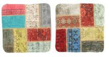 Patchwork Μαξιλαροθήκη Χαλι 50X50 Ανατολής Χειροποιητο Τετράγωνο Μπεζ/Σκούρο Καφέ (Μαλλί, Τουρκικά)