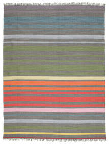 Rainbow Stripe - Γκρι Χαλι 250X300 Σύγχρονα Χειροποίητη Ύφανση Σκούρο Γκρι/Λαδί Μεγαλα (Βαμβάκι, Ινδικά)