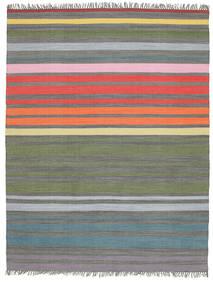 Rainbow Stripe - Γκρι Χαλι 200X250 Σύγχρονα Χειροποίητη Ύφανση Ανοιχτό Γκρι/Λαδί (Βαμβάκι, Ινδικά)