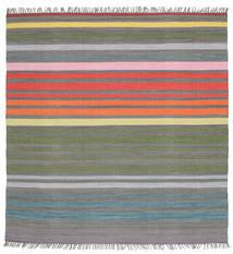 Rainbow Stripe - Γκρι Χαλι 200X200 Σύγχρονα Χειροποίητη Ύφανση Τετράγωνο Σκούρο Γκρι/Ανοιχτό Γκρι (Βαμβάκι, Ινδικά)