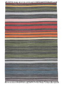 Rainbow Stripe - Γκρι Χαλι 140X200 Σύγχρονα Χειροποίητη Ύφανση Σκούρο Γκρι/Λαδί (Βαμβάκι, Ινδικά)