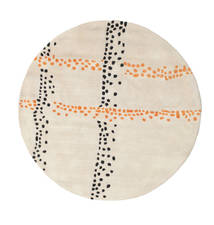 Delight Handtufted - Πορτοκαλί Χαλι Ø 150 Σύγχρονα Στρογγυλο Μπεζ/Ανοιχτό Γκρι (Μαλλί, Ινδικά)