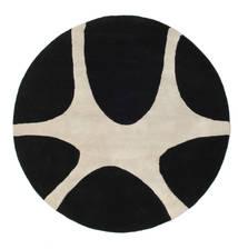 Stones Handtufted - Μαύρα Χαλι Ø 150 Σύγχρονα Στρογγυλο Μαύρα/Ανοιχτό Γκρι (Μαλλί, Ινδικά)