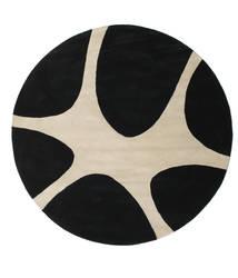Stones Handtufted - Μαύρα Χαλι Ø 225 Σύγχρονα Στρογγυλο Μαύρα/Ανοιχτό Γκρι (Μαλλί, Ινδικά)