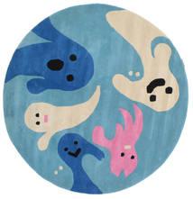 Spoky Χαλι Ø 150 Σύγχρονα Στρογγυλο Τυρκουάζ Μπλε/Μπεζ (Μαλλί, Ινδικά)