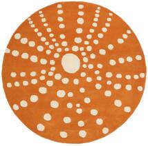 Sjöborre Handtufted - Πορτοκαλί Χαλι Ø 150 Σύγχρονα Στρογγυλο Ανοιχτό Καφέ/Πορτοκαλί (Μαλλί, Ινδικά)