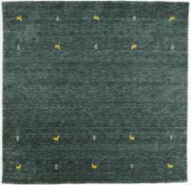 Γκάμπεθ Loom Two Lines - Σκούρο Γκρι/Λαδί Χαλι 200X200 Σύγχρονα Τετράγωνο Σκούρο Πράσινο/Σκούρο Τυρκουάζ (Μαλλί, Ινδικά)