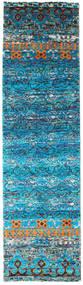 Quito - Turquoise Χαλι 80X300 Σύγχρονα Χειροποιητο Χαλι Διαδρομοσ Τυρκουάζ Μπλε/Μπλε (Μεταξωτά, Ινδικά)