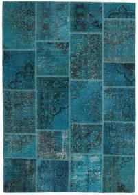 Patchwork Χαλι 159X230 Σύγχρονα Χειροποιητο Σκούρο Μπλε/Σκούρο Τυρκουάζ (Μαλλί, Τουρκικά)