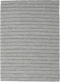 Κιλίμ Long Stitch - Μαύρα/Γκρι Χαλι 210X290 Σύγχρονα Χειροποίητη Ύφανση Ανοιχτό Γκρι/Τυρκουάζ Μπλε (Μαλλί, Ινδικά)