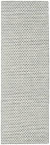 Κιλίμ Honey Comb - Γκρι Χαλι 80X240 Σύγχρονα Χειροποίητη Ύφανση Χαλι Διαδρομοσ Ανοιχτό Γκρι/Μπεζ (Μαλλί, Ινδικά)