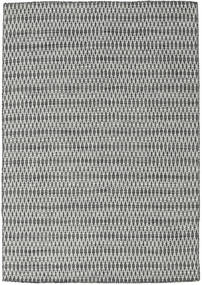 Κιλίμ Long Stitch - Μαύρα/Γκρι Χαλι 160X230 Σύγχρονα Χειροποίητη Ύφανση Ανοιχτό Γκρι/Σκούρο Γκρι (Μαλλί, Ινδικά)