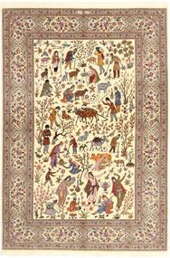 Ilam Sherkat Farsh Μετάξι Χαλι 150X220 Ανατολής Χειροποιητο Μπεζ/Καφέ/Ανοιχτό Καφέ (Μάλλινα/Μεταξωτά, Περσικά/Ιρανικά)