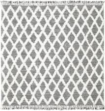 Inez - Σκούρο Καφέ/White Χαλι 250X250 Σύγχρονα Χειροποίητη Ύφανση Τετράγωνο Ανοιχτό Γκρι/Μπεζ Μεγαλα (Μαλλί, Ινδικά)