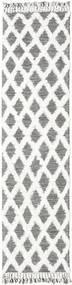Inez - Σκούρο Καφέ/White Χαλι 80X300 Σύγχρονα Χειροποίητη Ύφανση Χαλι Διαδρομοσ Ανοιχτό Γκρι/Λευκό/Κρεμ (Μαλλί, Ινδικά)