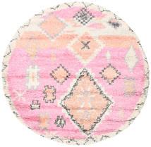 Odda - Ροζ Χαλι Ø 200 Σύγχρονα Χειροποιητο Στρογγυλο Ανοιχτό Ροζ/Μπεζ (Μαλλί, Ινδικά)