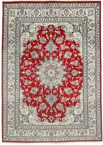 Nain Χαλι 150X207 Ανατολής Χειροποιητο Ανοιχτό Γκρι/Σκούρο Κόκκινο (Μαλλί, Περσικά/Ιρανικά)