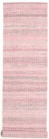 Alva - Ροζ/White Χαλι 80X350 Σύγχρονα Χειροποίητη Ύφανση Χαλι Διαδρομοσ Ανοιχτό Ροζ (Μαλλί, Ινδικά)