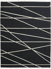 Cross Lines - Μαύρα/Υπόλευκο Χαλι 200X300 Σύγχρονα Χειροποίητη Ύφανση Μαύρα (Μαλλί, Ινδικά)