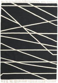 Cross Lines - Μαύρα/Υπόλευκο Χαλι 160X230 Σύγχρονα Χειροποίητη Ύφανση Σκούρο Γκρι/Μπεζ (Μαλλί, Ινδικά)