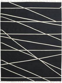 Cross Lines - Μαύρα/Υπόλευκο Χαλι 250X350 Σύγχρονα Χειροποίητη Ύφανση Μαύρα Μεγαλα (Μαλλί, Ινδικά)