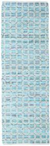 Elna - Bright_Blue Χαλι 80X250 Σύγχρονα Χειροποίητη Ύφανση Χαλι Διαδρομοσ Ανοικτό Μπλε/Τυρκουάζ Μπλε (Βαμβάκι, Ινδικά)