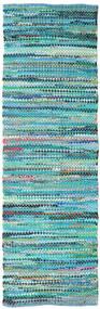 Ronja - Λαδί Mix Χαλι 80X250 Σύγχρονα Χειροποίητη Ύφανση Χαλι Διαδρομοσ Τυρκουάζ Μπλε/Τυρκουάζ Μπλε (Βαμβάκι, Ινδικά)
