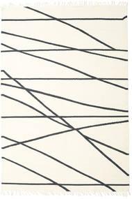 Cross Lines - Υπόλευκο/Μαύρα Χαλι 250X350 Σύγχρονα Χειροποίητη Ύφανση Μπεζ/Λευκό/Κρεμ Μεγαλα (Μαλλί, Ινδικά)