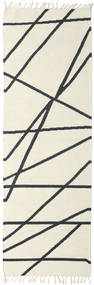Cross Lines - Υπόλευκο/Μαύρα Χαλι 80X250 Σύγχρονα Χειροποίητη Ύφανση Χαλι Διαδρομοσ Μπεζ/Σκούρο Γκρι (Μαλλί, Ινδικά)