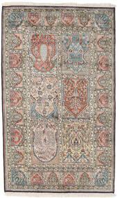 Kashmir Καθαρό Μετάξι Χαλι 98X161 Ανατολής Χειροποιητο Ανοιχτό Γκρι/Σκούρο Γκρι (Μεταξωτά, Ινδικά)