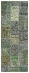 Patchwork - Persien/Iran Χαλι 76X201 Σύγχρονα Χειροποιητο Χαλι Διαδρομοσ Σκούρο Πράσινο/Λαδί (Μαλλί, Περσικά/Ιρανικά)