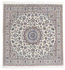 Nain 9La Χαλι 160X163 Ανατολής Χειροποιητο Τετράγωνο Ανοιχτό Γκρι/Λευκό/Κρεμ (Μάλλινα/Μεταξωτά, Περσικά/Ιρανικά)