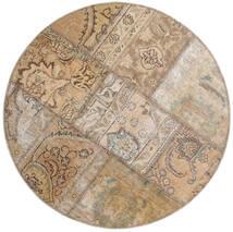 Patchwork - Persien/Iran Χαλι Ø 100 Σύγχρονα Χειροποιητο Στρογγυλο Ανοιχτό Γκρι/Ανοιχτό Καφέ (Μαλλί, Περσικά/Ιρανικά)