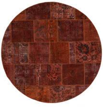 Patchwork - Persien/Iran Χαλι Ø 200 Σύγχρονα Χειροποιητο Στρογγυλο Σκούρο Καφέ/Σκούρο Κόκκινο (Μαλλί, Περσικά/Ιρανικά)