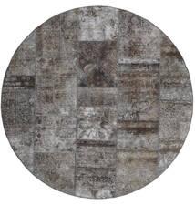 Patchwork - Persien/Iran Χαλι Ø 200 Σύγχρονα Χειροποιητο Στρογγυλο Σκούρο Γκρι/Ανοιχτό Γκρι (Μαλλί, Περσικά/Ιρανικά)