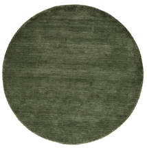 Χειροκίνητου Αργαλειού - Πράσινο Του Δάσους Χαλι Ø 200 Σύγχρονα Στρογγυλο Σκούρο Πράσινο (Μαλλί, Ινδικά)