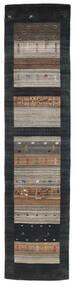 Loribaf Loom Χαλι 79X340 Σύγχρονα Χειροποιητο Χαλι Διαδρομοσ Μαύρα/Ανοιχτό Γκρι (Μαλλί, Ινδικά)
