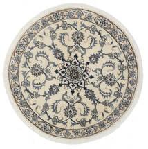 Nain Χαλι Ø 100 Ανατολής Χειροποιητο Στρογγυλο Λευκό/Κρεμ/Ανοιχτό Πράσινο (Μαλλί, Περσικά/Ιρανικά)