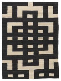 Κιλίμ Μοντέρνα Χαλι 132X177 Σύγχρονα Χειροποίητη Ύφανση Μαύρα/Ανοιχτό Καφέ (Μαλλί, Αφγανικά)