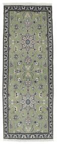 Nain Χαλι 75X201 Ανατολής Χειροποιητο Χαλι Διαδρομοσ Σκούρο Πράσινο/Σκούρο Γκρι (Μαλλί, Περσικά/Ιρανικά)