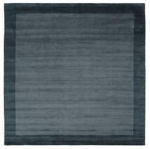 Χειροκίνητου Αργαλειού Frame - Petrol Μπλε Χαλι 300X300 Σύγχρονα Τετράγωνο Μαύρα/Σκούρο Μπλε Μεγαλα (Μαλλί, Ινδικά)